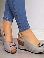 cheap -Women's Sandals Wedge Heel Peep Toe Classic Daily PU Solid Colored Black Khaki Gray