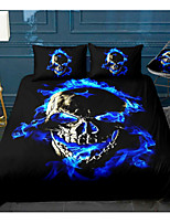 cheap -3D Skull Series 3-Piece Duvet Cover Set Hotel Bedding Sets Comforter Cover with Soft Lightweight Microfiber, Include 1 Duvet Cover, 2 Pillowcases for Double/Queen/King(1 Pillowcase for Twin/Single)