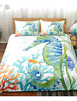 cheap -Ocean Series Hippocampus Print 3-Piece Duvet Cover Set Hotel Bedding Sets Comforter Cover with Soft Lightweight Microfiber(Include 1 Duvet Cover and 1or 2 Pillowcases)