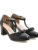 cheap -Women's Sandals Block Heel Round Toe Casual Daily Walking Shoes PU Bowknot Solid Colored Almond Black Yellow