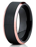 cheap -8mm black brushed tungsten carbide wedding ring rose gold beveled edge unisex ring 12.5