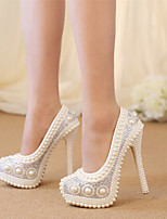 cheap -Women's Wedding Shoes Platform Round Toe Vintage Sexy Roman Shoes Wedding Party & Evening PU Rhinestone Pearl Sparkling Glitter Color Block Solid Colored White