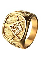 cheap -men's engraving stainless steel fraternity freemason masonic rings gold plated size 9