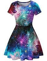cheap -women's starry sky digital print a-line short sleeve round neck dress short sleeve t-shirt dress swing skirt (m/8-10, colourful galaxy)