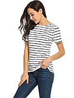 cheap -woman summer tops and blouses short sleeve stripes tee t-shirt tops (l, black and white stripes)