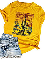 cheap -vintage shirts for women western desert cactus graphic tees short sleeve casual tops blouse size xl yellow