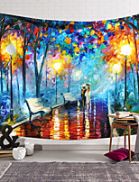 cheap -Oil Painting Style Wall Tapestry Art Decor Blanket Curtain Hanging Home Bedroom Living Room Decoration Polyester Romantic Street Lamp Lovers Strolling