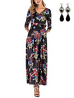 cheap -women's maxi dresses 3/4 sleeves casual dress party dress floral loose maternity dress, black & floral m