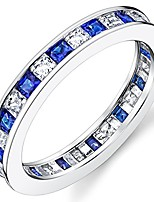 cheap -sterling silver 925 eternity ring engagement wedding band w/princess cut simulated sapphire cubic zirconia cz 5