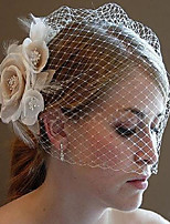 cheap -One-tier Floral / Lace Wedding Veil Blusher Veils with Trim POLY / Tulle
