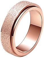 cheap -unisex's 6mm stainless steel spinner ring rose gold matte sand blast finish size 4