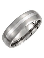 cheap -titanium & sterling silver inlay 7mm satin finish domed wedding ring band size 9.5