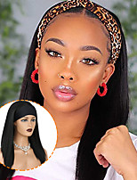cheap -16 180g Short Straight Black Wig Synthetic Headband Wigs For Women With Scarf Heat Resistant Fiber Natrual Looking Wig Daily Use