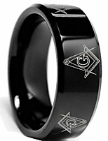 cheap -8mm black stainless steel masonic ring band (13)