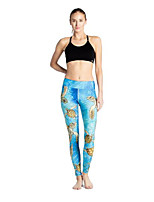 cheap -Women's Basic Casual Comfort Daily Gym Leggings Pants Multi Color Ankle-Length Patchwork Print Blue