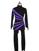 cheap -Figure Skating Jacket with Pants Women's Girls' Ice Skating Pants / Trousers Top Purple Patchwork Spandex High Elasticity Training Competition Skating Wear Patchwork Crystal / Rhinestone Long Sleeve