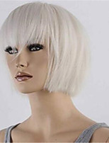 cheap -Synthetic Wig Straight Bob Neat Bang Wig Short White Synthetic Hair Women's Soft Cool Comfy White