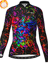 cheap -21Grams Women's Long Sleeve Cycling Jersey Winter Fleece Polyester Black Bike Jersey Top Mountain Bike MTB Road Bike Cycling Fleece Lining Breathable Warm Sports Clothing Apparel / Stretchy