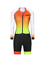 cheap -Men's Women's Long Sleeve Triathlon Tri Suit Polyester Black / Yellow Polka Dot Bike Clothing Suit Breathable 3D Pad Quick Dry Reflective Strips Sweat-wicking Sports Polka Dot Mountain Bike MTB Road