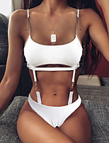 cheap -Women's Fashion Sexy Monokini Swimsuit Solid Color Leopard Open Back Print Padded Normal Strap Swimwear Bathing Suits White Black Brown / One Piece