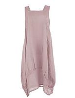cheap -ladies womens italian lagenlook plain sleeveless square neck 2 pocket linen long midi dress one size (light pink, one size)