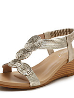 cheap -Women's Sandals Wedge Heel Round Toe Casual Daily PU Solid Colored Black Champagne Gold