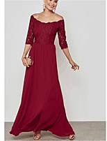 cheap -Women's Swing Dress Maxi long Dress - Half Sleeve Solid Color Mesh Lace Patchwork Spring Fall Off Shoulder Elegant Sexy Party Cotton Slim 2020 Wine S M L XL