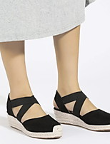 cheap -Women's Sandals Wedge Heel Round Toe Classic Sexy British Party & Evening Home Suede Solid Colored Black Brown Light Blue