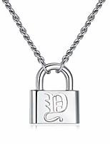 cheap -lock initial necklace letter y pendant necklace men women silver chain personalized 26 alphabet necklace