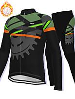 cheap -21Grams Men's Long Sleeve Cycling Jacket with Pants Winter Fleece Spandex Black Gear Bike Fleece Lining Warm Sports Graphic Mountain Bike MTB Road Bike Cycling Clothing Apparel / Stretchy