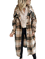 cheap -women's casual loose lapel button long maxi plaid wool blend coat shacket(coffee-s)