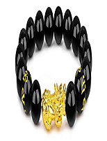 cheap -12mm beaded feng shui black obsidian wealth bracelet pixiu bracelets for men hand carves mantra bands for women elastic bracelets