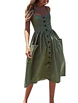 cheap -fashion women summer holiday clubbing office cool charming sexy buttons solid off shoulder sleeveless dress princess dress