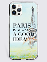 cheap -Eiffel Tower Letter Case For Apple iPhone 12 iPhone 11 iPhone 12 Pro Max Unique Design Protective Case Shockproof Back Cover TPU PARIS IS ALWAYS A GOOD IDEA