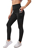 cheap -Women's Yoga Sports Breathable Sport Gym Leggings Pants Simple Solid Colored Full Length Classic Pocket Black