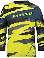 cheap -21Grams Men's Long Sleeve Downhill Jersey Spandex Yellow Camo / Camouflage Bike Jersey Top Mountain Bike MTB Road Bike Cycling UV Resistant Quick Dry Sports Clothing Apparel / Athletic