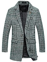 cheap -men's casual western two-buttons plaid overcoat midi woolen tweed trench coat (green, small)