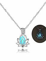 cheap -luminous lotus pendant necklace, hollow flower lockets necklace (azure)