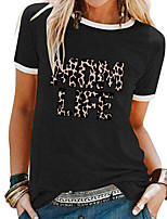 cheap -Women's T shirt Leopard Letter Patchwork Print Round Neck Tops Basic Basic Top White Black Blue