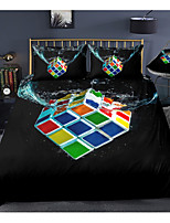 cheap -Magic Cube Print 3-Piece Duvet Cover Set Hotel Bedding Sets Comforter Cover with Soft Lightweight Microfiber, Include 1 Duvet Cover, 2 Pillowcases for Double/Queen/King(1 Pillowcase for Twin/Single)