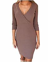 cheap -,womens deep v popular three quarter sleeve bodycon slim casual mini dress coffee