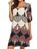 cheap -women vintage dress ladies short sleeve print tassel style bohemian dress casual v-neck knee-length dress (beige, m)