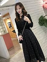 cheap -Women's A-Line Dress Midi Dress - Long Sleeve Polka Dot Print Ruched Patchwork Print Spring Fall Casual Party 2020 White Black S M L XL XXL