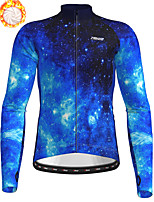 cheap -21Grams Men's Long Sleeve Cycling Jersey Winter Fleece Polyester Blue Bike Jersey Top Mountain Bike MTB Road Bike Cycling Fleece Lining Breathable Warm Sports Clothing Apparel / Stretchy / Athleisure