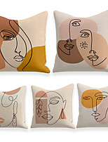 cheap -Cushion Cover 5PC Linen Soft Decorative Square Throw Pillow Cover Cushion Case Pillowcase for Sofa Bedroom 45 x 45 cm (18 x 18 Inch) Superior Quality Machine Washable