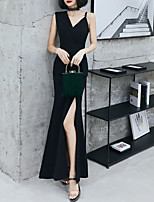 cheap -Sheath / Column Little Black Dress Minimalist Prom Formal Evening Dress V Neck Sleeveless Ankle Length Spandex with Split 2020