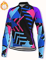 cheap -21Grams Women's Long Sleeve Cycling Jacket Winter Fleece Spandex Blue Bike Jacket Mountain Bike MTB Road Bike Cycling Fleece Lining Warm Sports Clothing Apparel / Stretchy / Athleisure