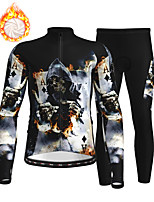 cheap -21Grams Men's Long Sleeve Cycling Jersey with Tights Winter Fleece Polyester Black Skull Bike Clothing Suit Thermal Warm Fleece Lining Breathable 3D Pad Warm Sports Skull Mountain Bike MTB Road Bike
