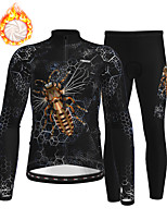 cheap -21Grams Men's Long Sleeve Cycling Jersey with Tights Winter Fleece Polyester Black Animal Bike Clothing Suit Thermal Warm Fleece Lining Breathable 3D Pad Warm Sports Printed Mountain Bike MTB Road