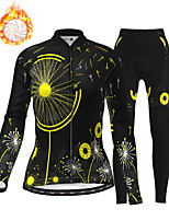cheap -21Grams Women's Long Sleeve Cycling Jersey with Tights Winter Fleece Polyester Black / Yellow Orange Green Bike Clothing Suit Fleece Lining Breathable 3D Pad Warm Quick Dry Sports Graphic Mountain